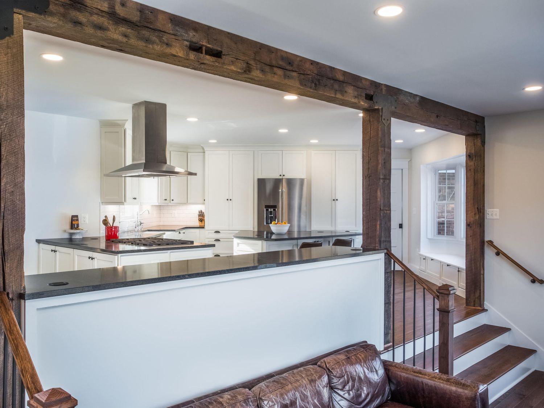 Leesburg home renovation beams stairs interior