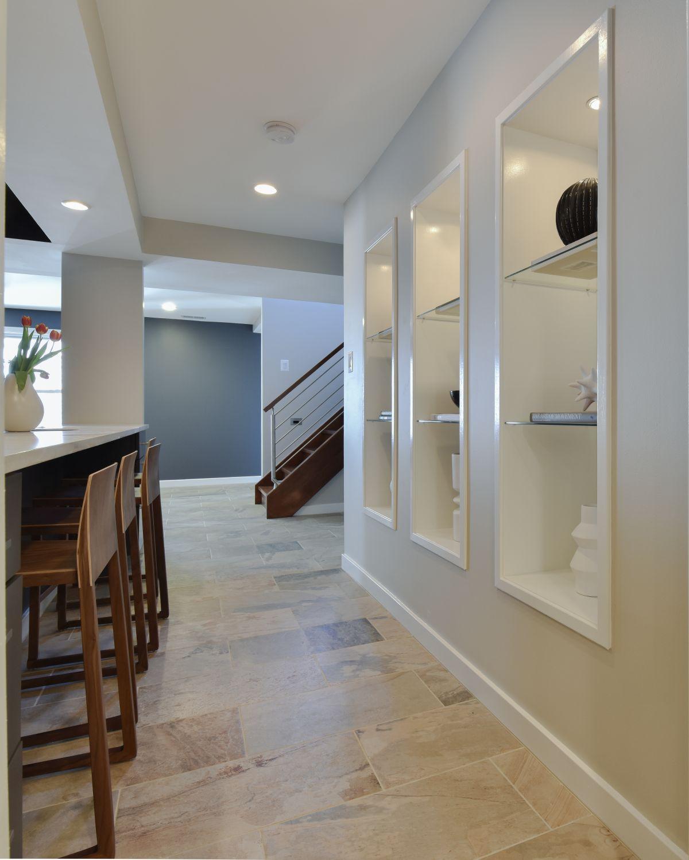Great Falls built-in shelves custom floors basement remodel