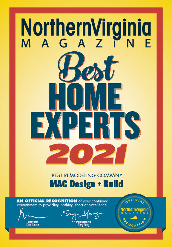 Northern Virginia Magazine Best Remodeling Company 2021 MAC design+build