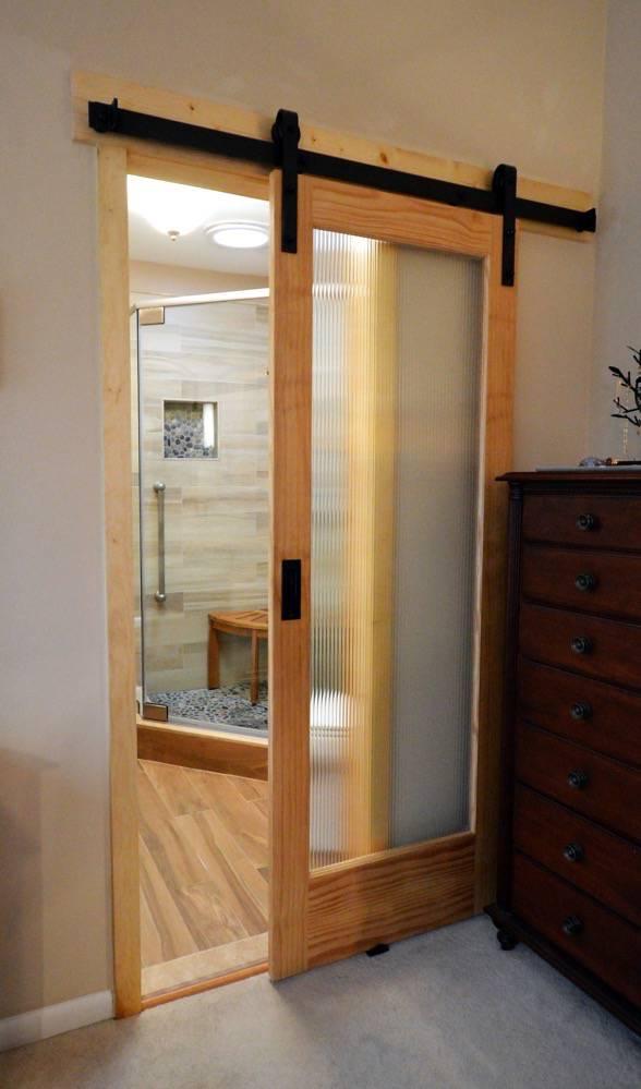 Reston Master Bath Remodel With Reed Glass Sliding Barn Door Mac