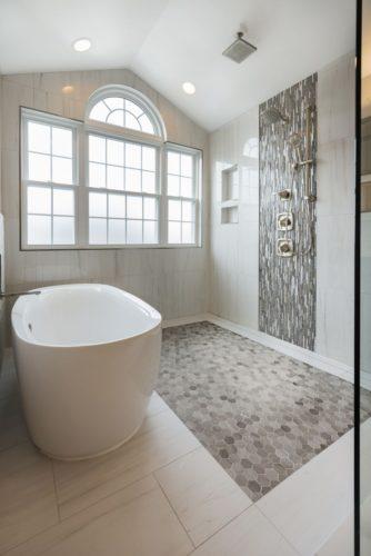 bathroom renovation modern design custom tile flooring