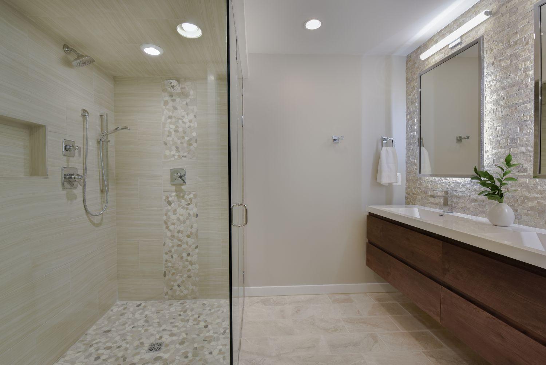 stone wall floating bathroom vanity designer shower